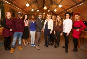 Picture Shows: Group shot of all contestants and judges on set (L-R): contestants Katie Crompton, Marvin Francis, Laura Hollowell, Eboni Ajiduah; Judges Alain Pichon (facing left) and Denise McAdam (facing right) then contestants; Amy Tombling, Annie Davies, Kobi Saxton, Dominika Kasperowicz.